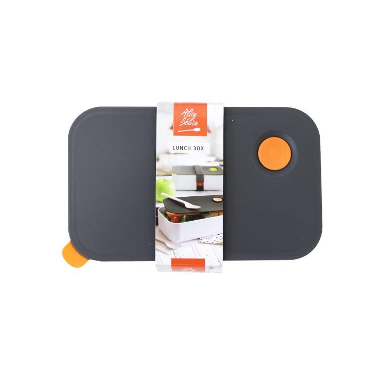 Lunch box bento gris et blanc couvercle orange 1l - Alice Délice