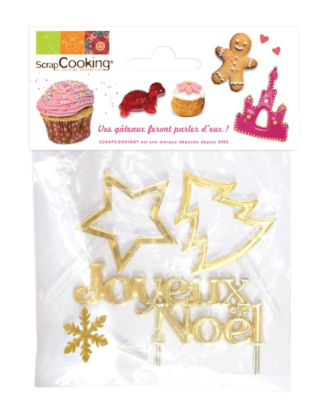 SET 4 DECORATIONS BUCHE NOEL OR - SCRAPCOOKING