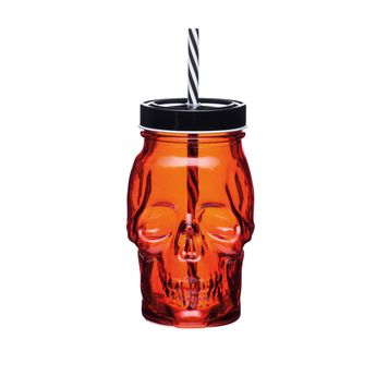 MASON JAR TETE DE MORT ROUGE ET NOIR 450 ML - SPOOKILY DOES IT