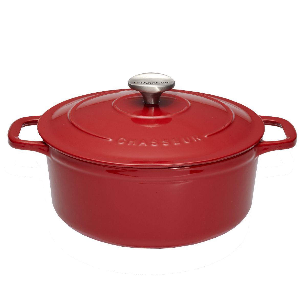 Cocotte en fonte ronde 29 cm 4.2L rouge - Le Chasseur