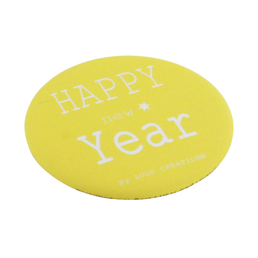 DECAPSULEUR AIMANTE HAPPY NEW YEAR JAUNE - LULU CREATION