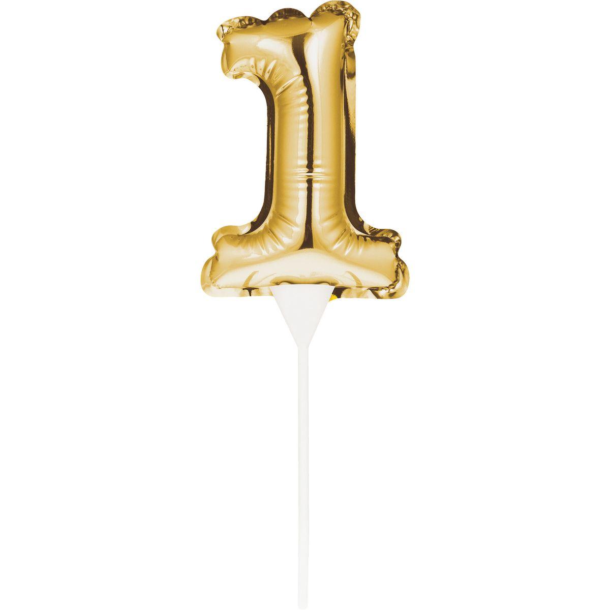 Bougie ballon chiffre 1 doré - Creative Converting
