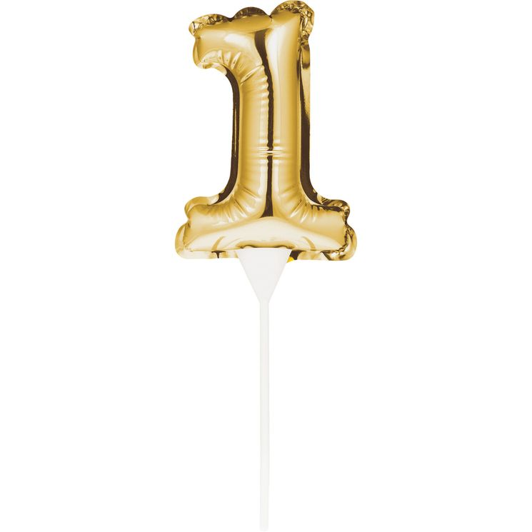 Décor de gâteau : Ballon chiffre 1 doré - Creative Converting