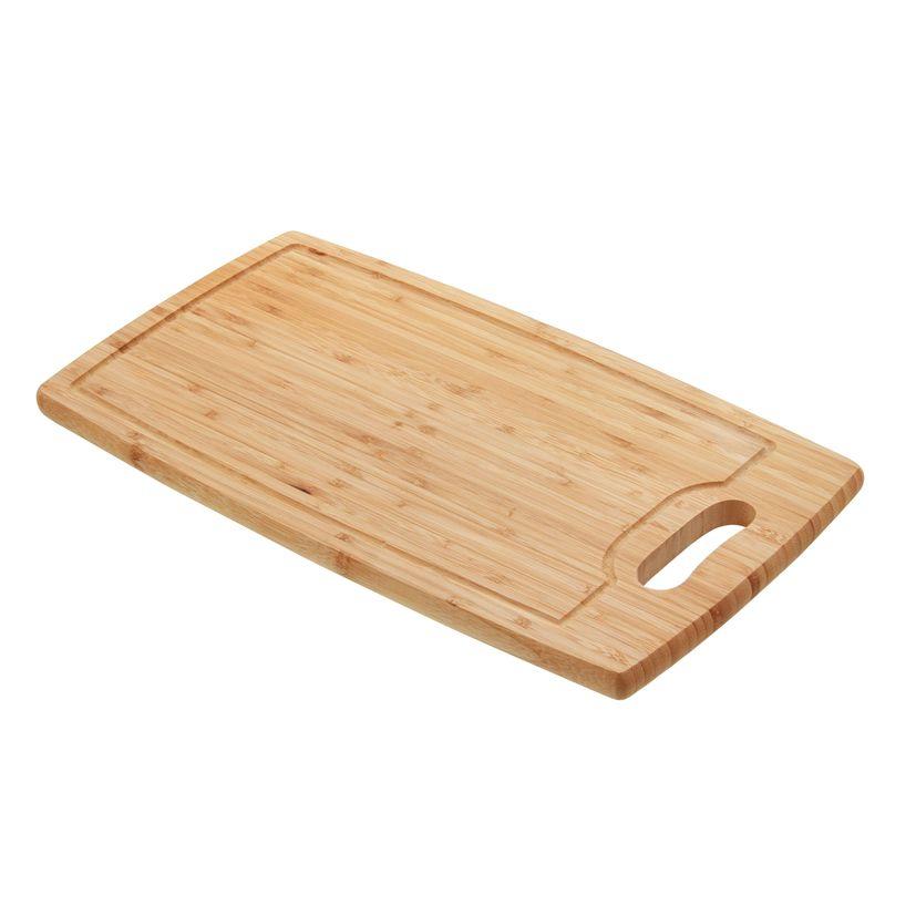 Planche à découper en bambou avec rigole et poignée 45 x 24 x 1.9 cm - Zeller