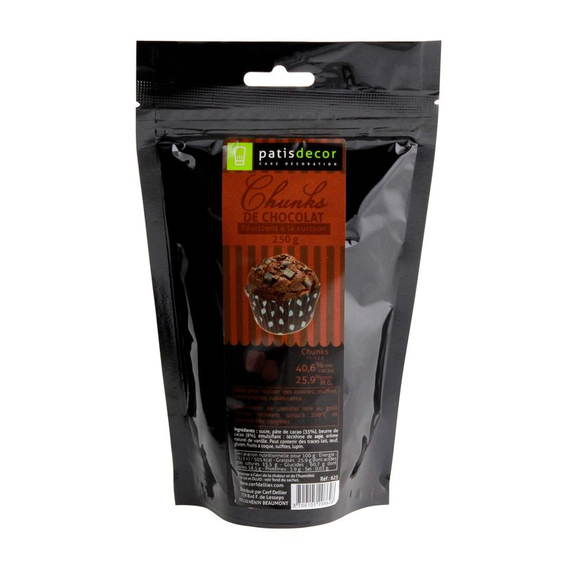 Pépites chunks chocolat noir 250g - Patisdecor