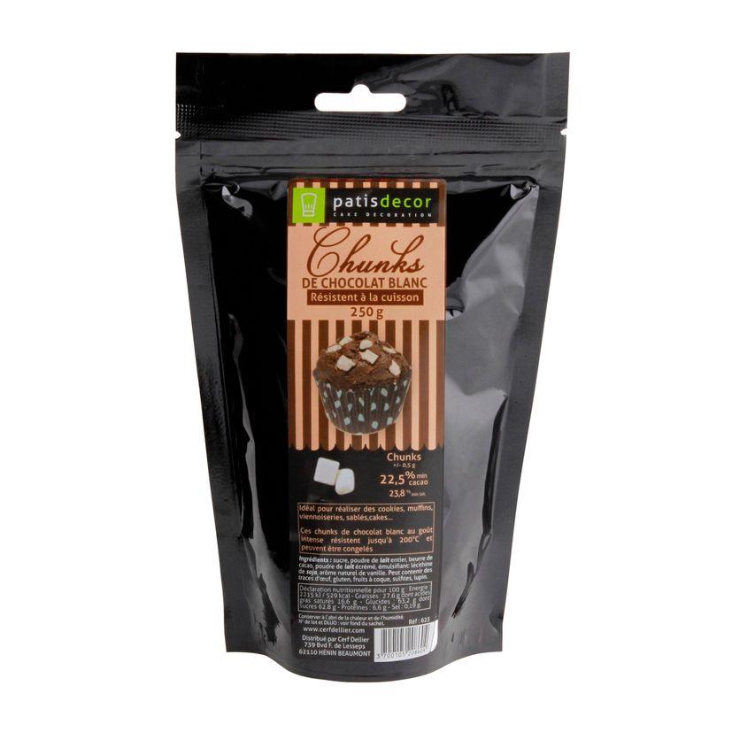 Pépites chunks chocolat blanc 250g - Patisdecor