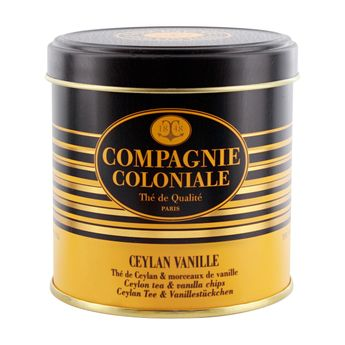 Achat en ligne Thé noir aromatisé boîte métal Ceylan vanille 130gr - Compagnie Coloniale