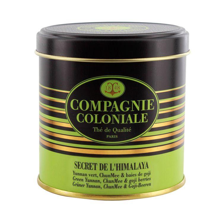 Thé vert nature et aromatisé boîte métal Secret de l´Himalaya - Compagnie Coloniale