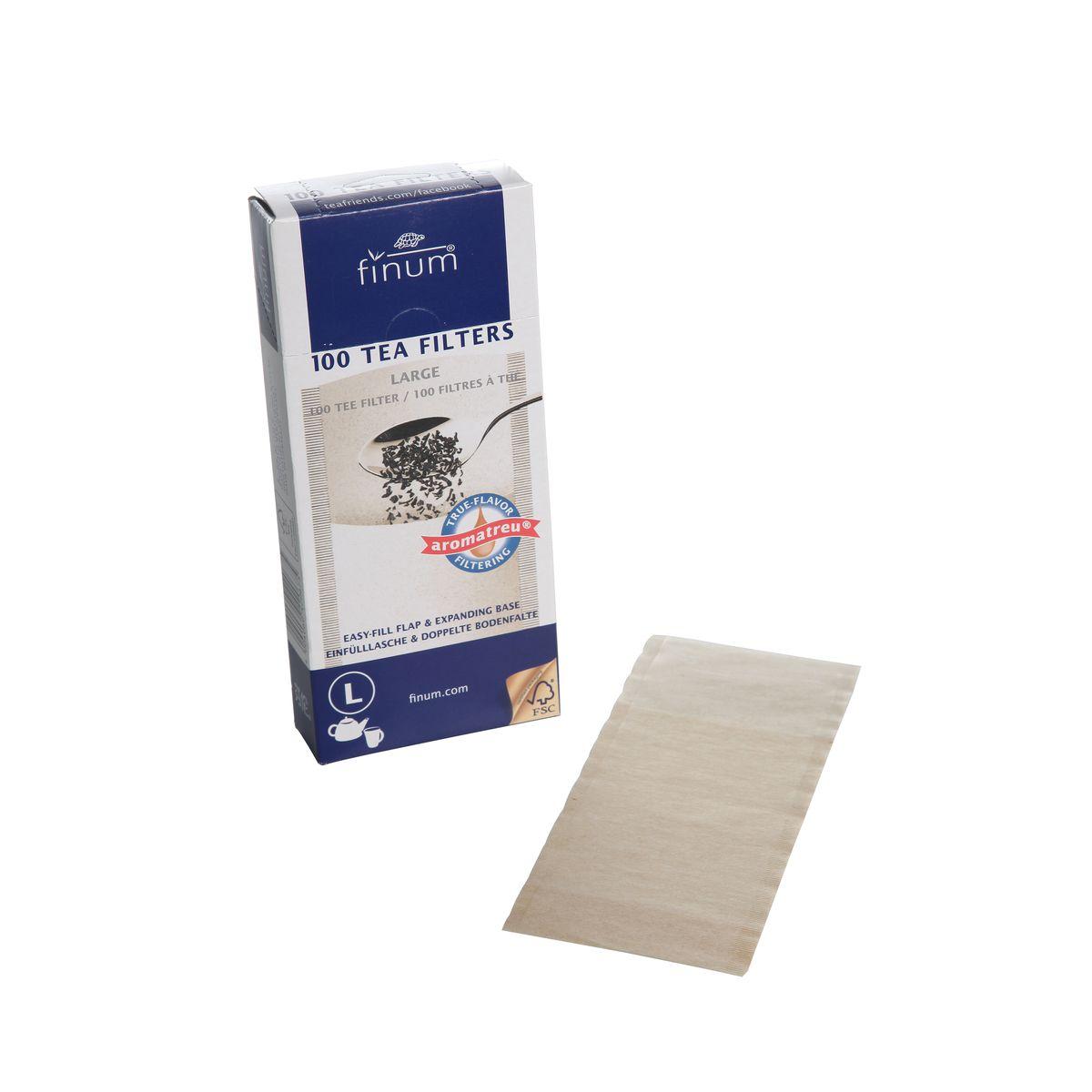 100 filtres à thé compostables  L - 82X182Mm - Jusqu´à 6 tasses - Finum