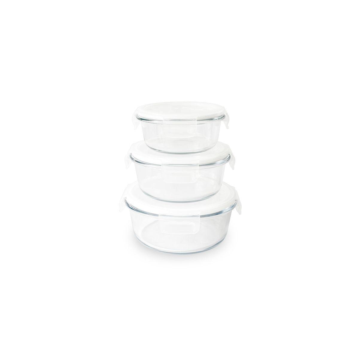 Set de 3 boîtes rondes en verre 400 ml/620 ml/950 ml - Pebbly