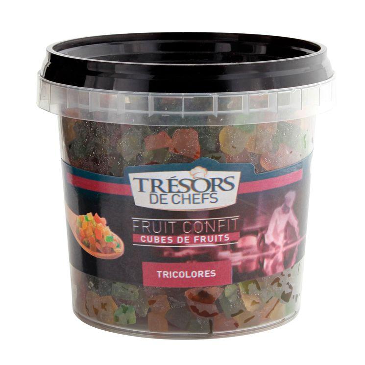 Cubes de fruits confits tricolores 250gr - Trésors de Chefs