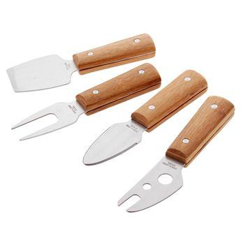 Achat en ligne Set 4 couteaux à fromage avec manche en bambou - Point Virgule