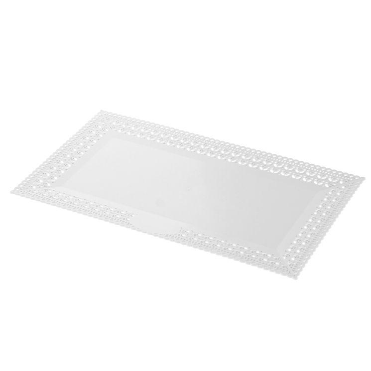 Plateau en plastique blanc avec bords dentelle 19x34cm - Patisdecor