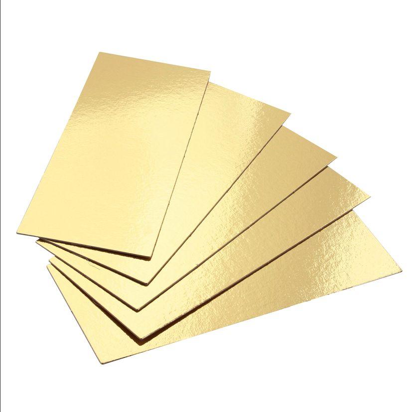 5 supports à gâteaux rectangulaires dorés 24 x 9.5 cm - Gatodeco
