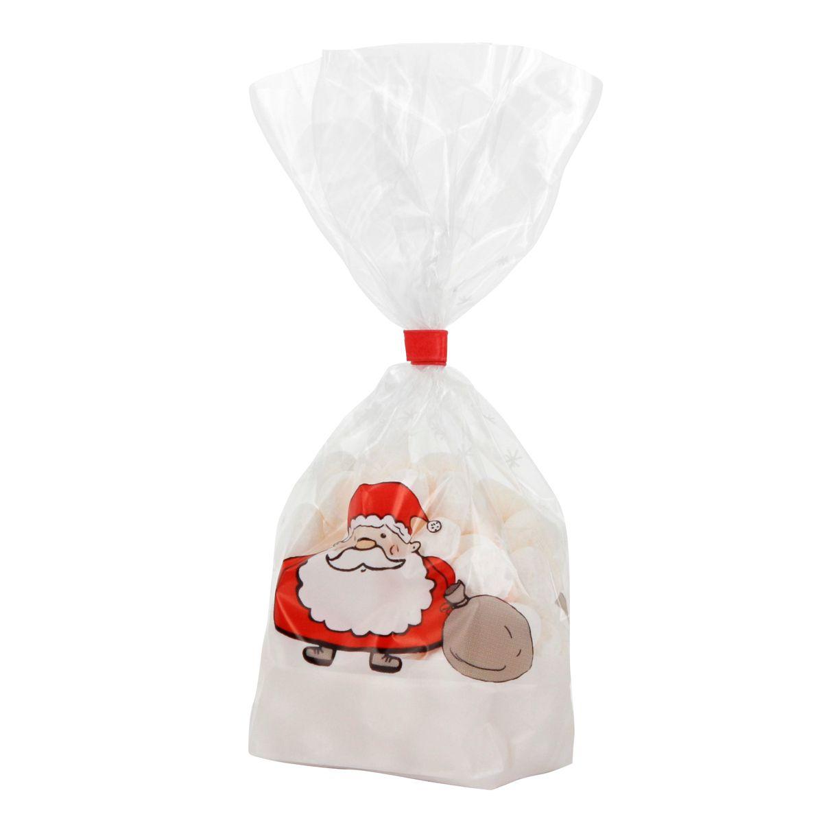 10 sachets confiseur avec clips Père Noël 11.5 x 19 cm - Zischka
