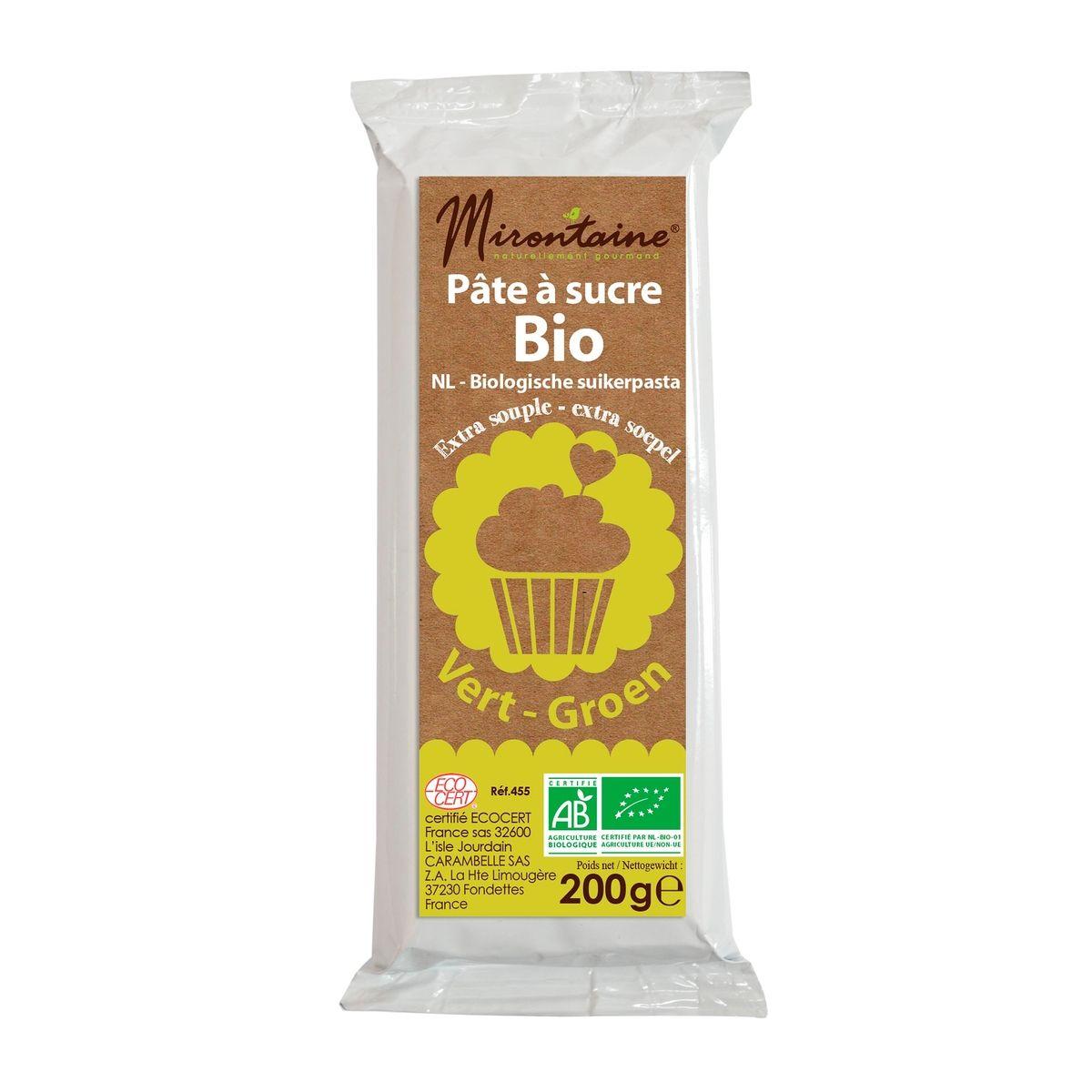 Pâte à sucre bio verte 200gr - Mirontaine