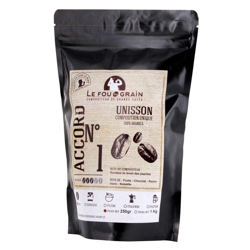 Café en grains Unisson Accord n°1 250gr - Le Fou du Grain