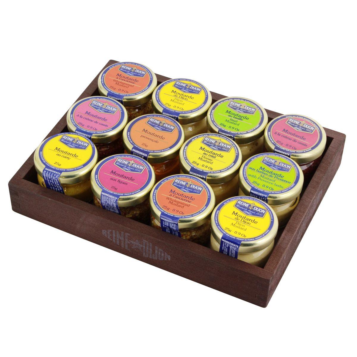Coffret bois 12 moutardes 25g - Reine de Dijon