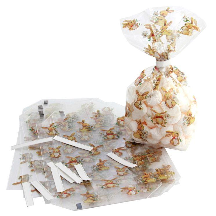 10 sachets petits lapins Pâques 11.5x19cm - Zischka