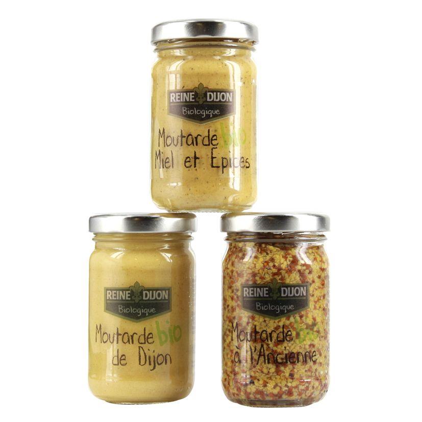 Trio moutardes bio - Reine de Dijon