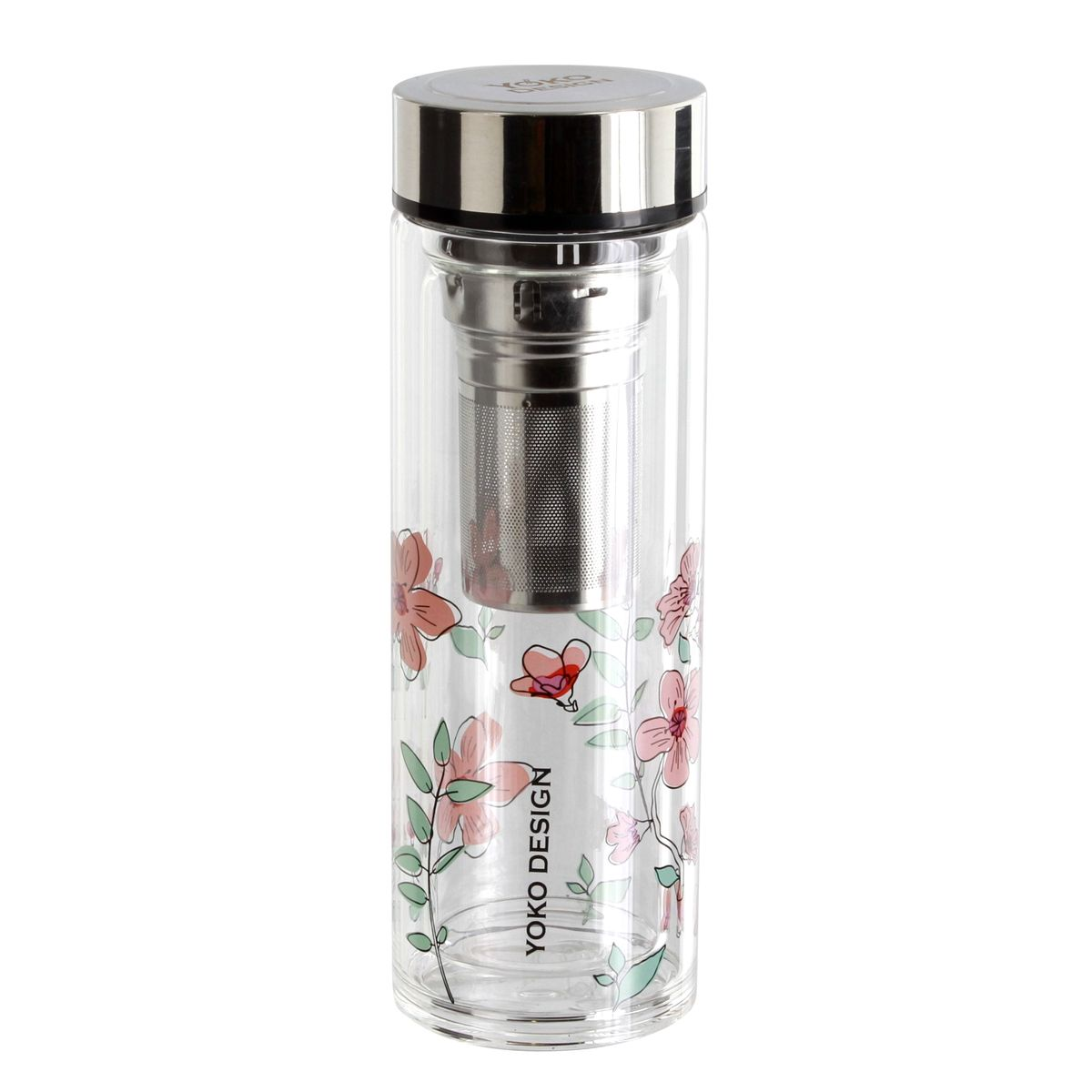 Théière infuseur en verre fleurs roses Par´tea 500ml - Yoko Design