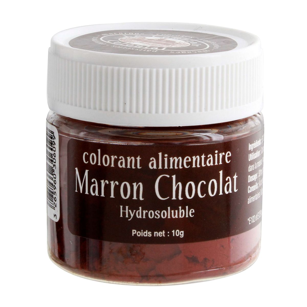 Colorant alimentaire hydrosoluble marron chocolat 10 gr - Le Comptoir Colonial