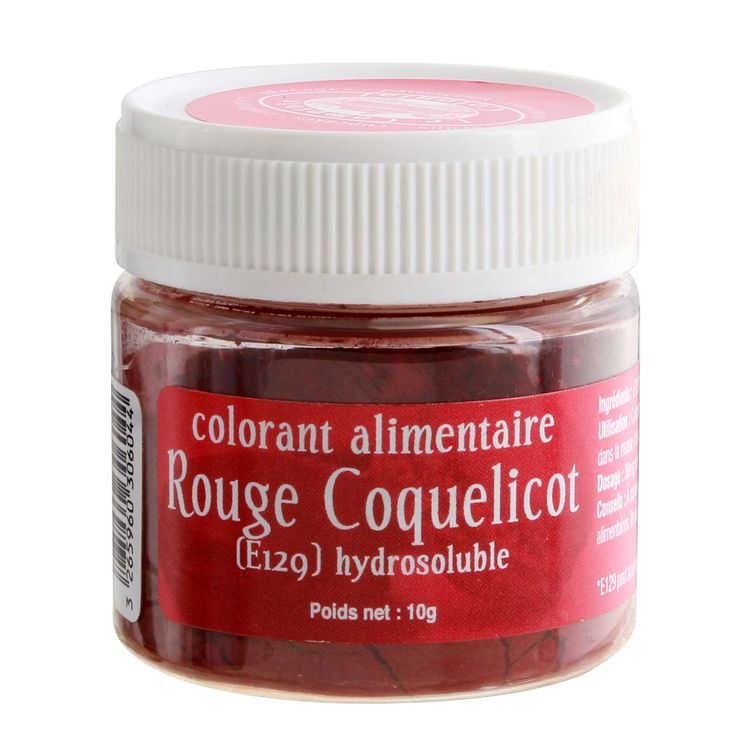 Colorant alimentaire hydrosoluble rouge coquelicot 10 gr - Le Comptoir Colonial
