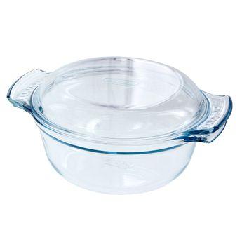Achat en ligne Cocotte en verre ronde 25x20 cm ( 1.5l+ couvercle 0.6l )- Pyrex