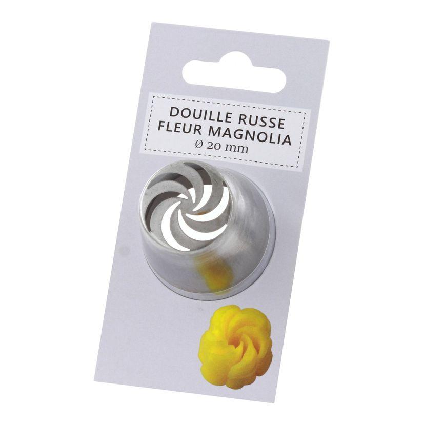 Douille inox russe fleur magnolia 20 mm