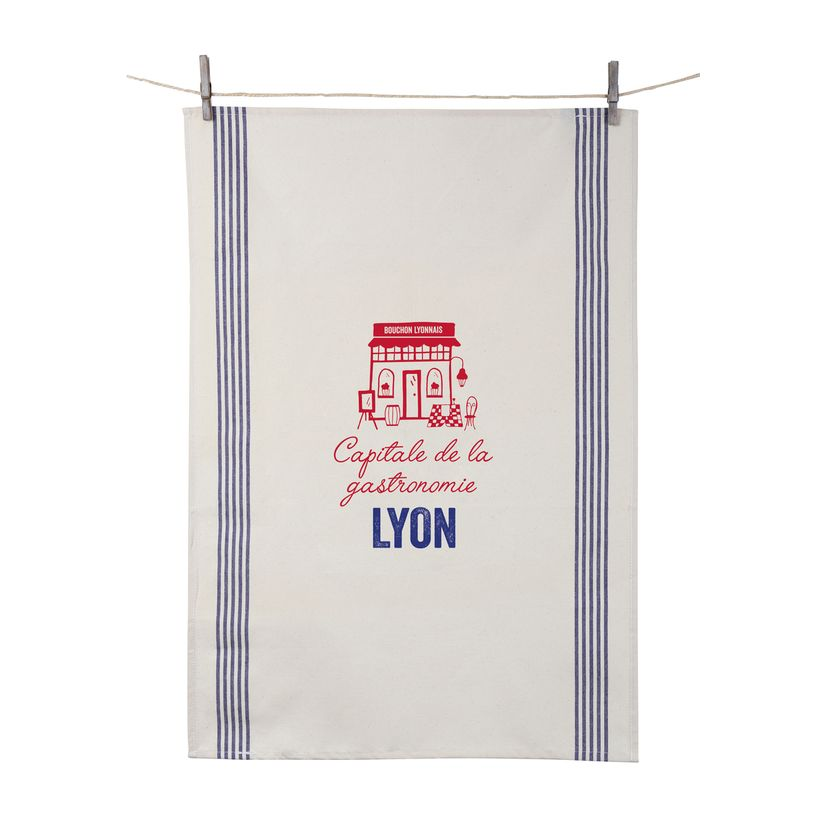 Torchon Lyon capitale de la gastronomie 55x80 cm 100% coton - Tissage de L´Ouest