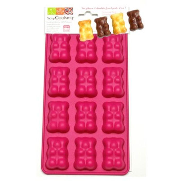 Moule à chocolat en silicone 12 oursons guimauve - Scrapcooking