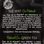 Thé vert bio cru naturel Gunpowder 100gr - Thés de la Pagode