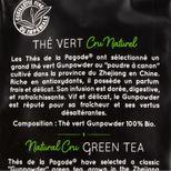 Thé vert cru naturel Gunpowder bio - Thés de la Pagode
