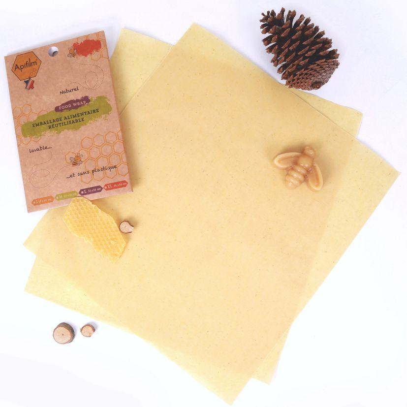 Lot de 2 emballages alimentaires réutilisables coton et cire d´abeille taille L - Apifilm