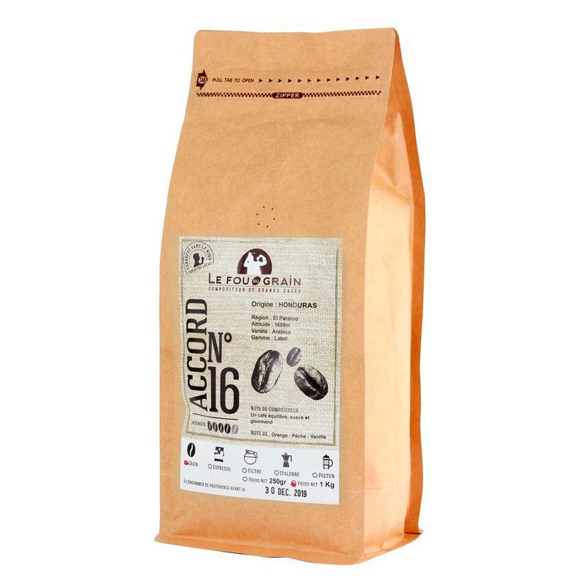 Café en grains 1kg Honduras Accord n°16 - Le Fou du Grain