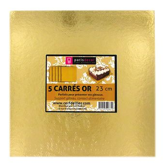 Achat en ligne 5 supports à gâteaux carrés dorés 23 x 23 cm - Gatodeco