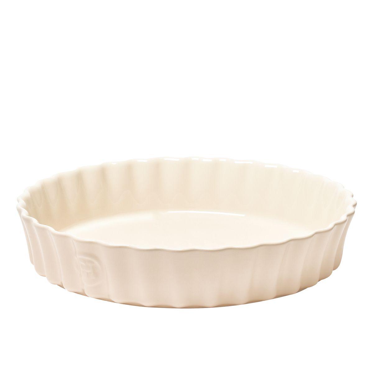 Moule à tarte / tourtière haute ronde en céramique blanc cassé 24 cm x 5 cm - Emile Henry