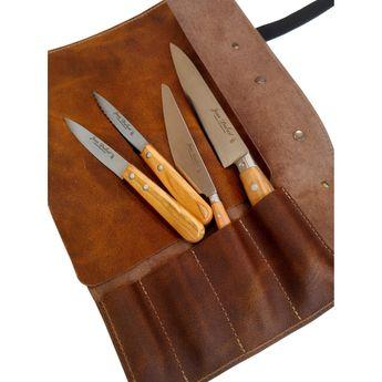 Sacoche en cuir marron avec 4 couteaux : office, légumes, éminceur et chef - Jean Dubost