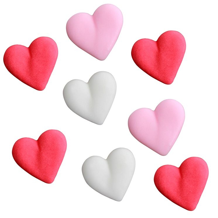Plaque de décors comestibles : 8 décors coeur roses, roses pâle et blancs - Alice Délice