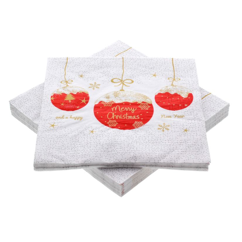 Serviettes 33*33 cm A Very Merry Christmas red