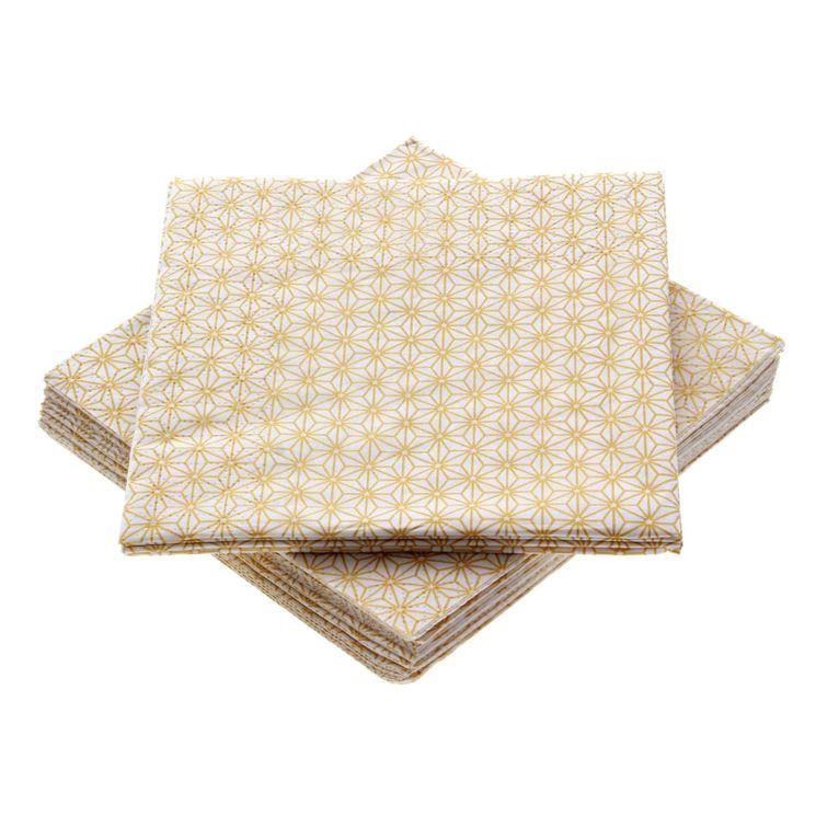 serviettes 25*25 cm Ginza gold