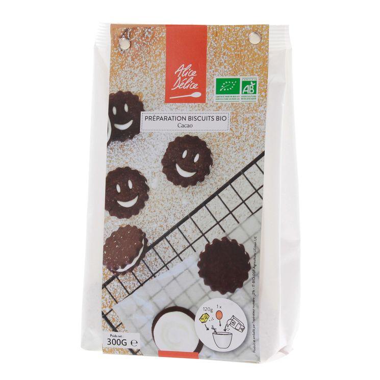 Préparation biscuit cacao bio 300gr sans gluten - Alice Délice