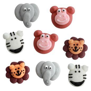 Achat en ligne Plaque de décors comestibles : 8 décors thème animaux : lion, éléphant, singe et zébre