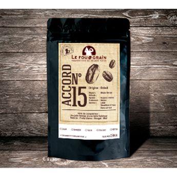 Café décafeiné grains Accord n°15 250gr - Le Fou du Grain