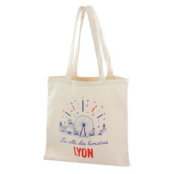 Achat en ligne Totebag Lyon ville lumières 100% coton - Tissage de L´Ouest