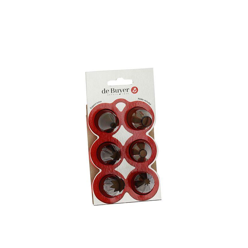 Set de 6 douilles classiques en tritan : 3 douilles rondes (6. 11 et 13 mm) et 3 douilles cannelées (5. 8. 13 mm) - De Buyer