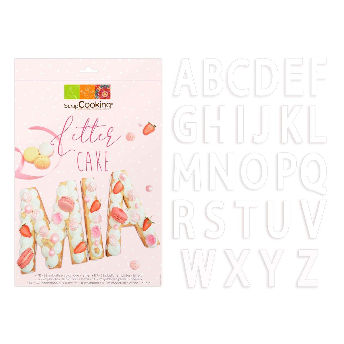 26 gabarits pour letter cake en plastique 19 cm - Scrapcooking