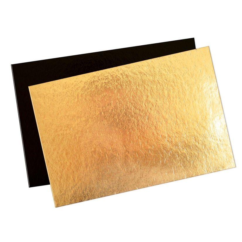 5 semelles supports à gâteaux rectangulaires or et noir  20 x 30 cm - Scrapcooking