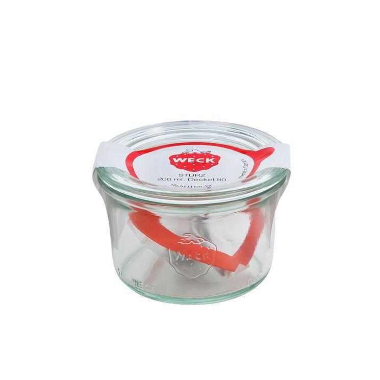 Bocal de conservation hermétique en verre avec clips et joints 200 ml diamètre 80 mm - Weck