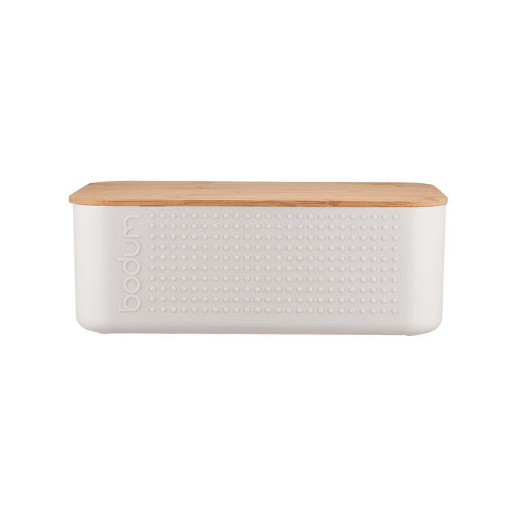 Boite à pain blanche avec couvercle planche en bambou 11 x 19 x 29 cm - Bodum